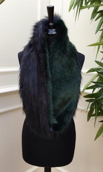 Green and Black fur Stole - LadyVB   s.r.o