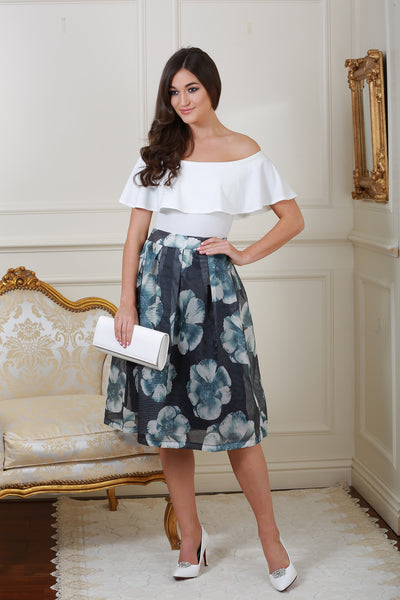 Giselle Tinted Blue and Floral Skirt - LadyVB   s.r.o - 1