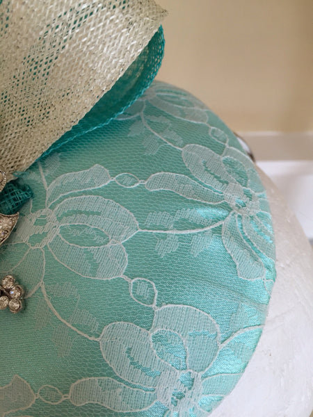 Bespoke mint and cream Sally Fascinator - LadyVB   s.r.o - 7