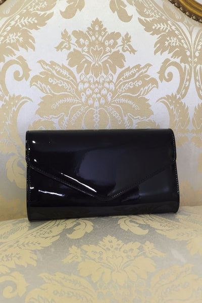 Black Envelope Patent Clutch Bag - LadyVB   s.r.o