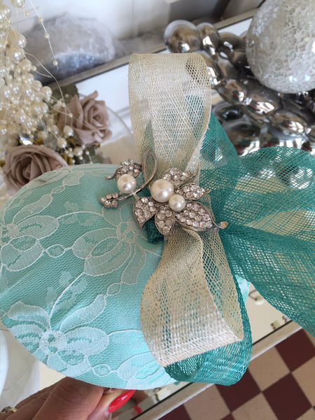 Bespoke mint and cream Sally Fascinator - LadyVB   s.r.o - 10