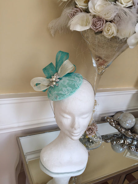 Bespoke mint and cream Sally Fascinator - LadyVB   s.r.o - 13