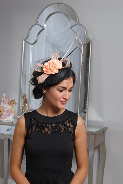 Black /Peach Fascinator - LadyVB   s.r.o - 2