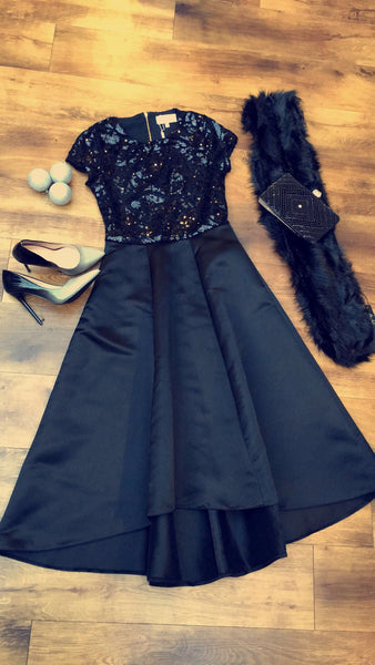 Odessa Black Blue Sequin Hi Lo Dress - LadyVB   s.r.o