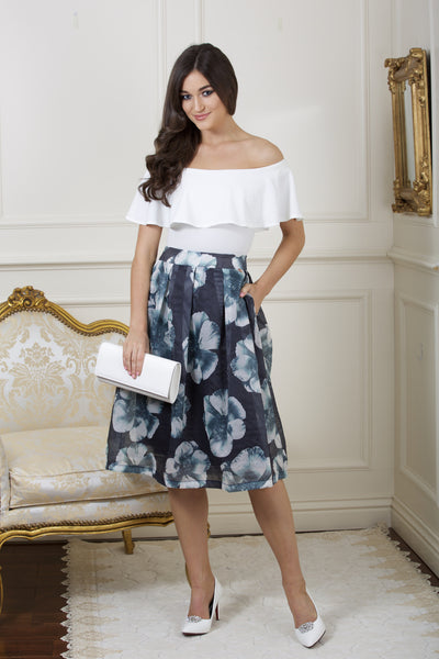 Giselle Tinted Blue and Floral Skirt - LadyVB   s.r.o - 2