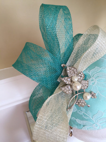 Bespoke mint and cream Sally Fascinator - LadyVB   s.r.o - 6