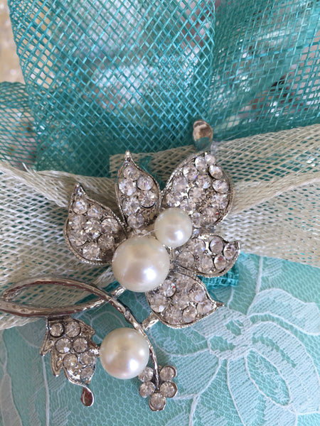 Bespoke mint and cream Sally Fascinator - LadyVB   s.r.o - 12