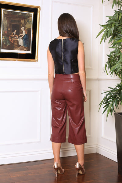 Wine PVC Side Zip Up Palazzo 3/4 Pants - LadyVB   s.r.o - 2