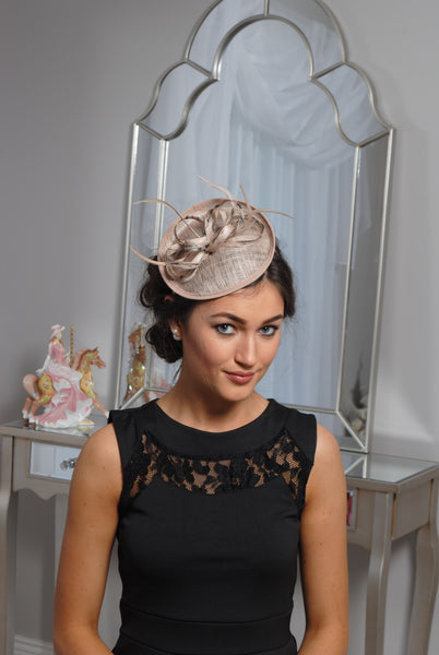 Beige/Nude and Black Fascinator - LadyVB   s.r.o - 1