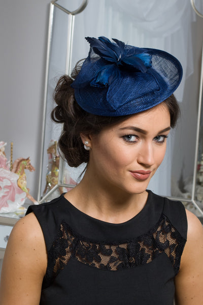 Navy Feather Fascinator - LadyVB   s.r.o