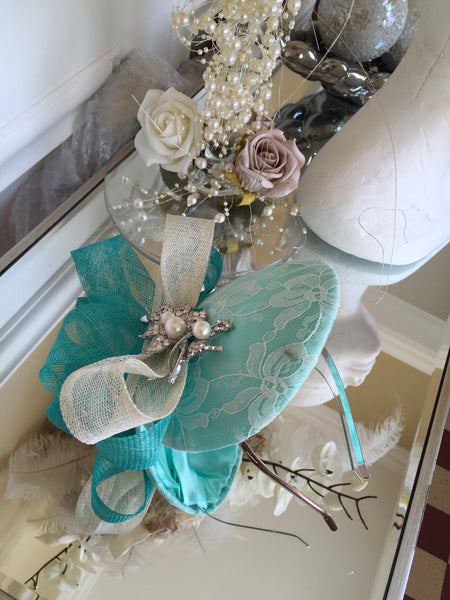 Bespoke mint and cream Sally Fascinator - LadyVB   s.r.o - 11