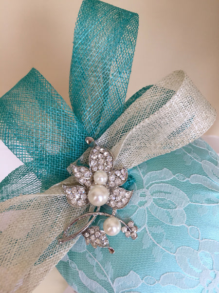 Bespoke mint and cream Sally Fascinator - LadyVB   s.r.o - 8