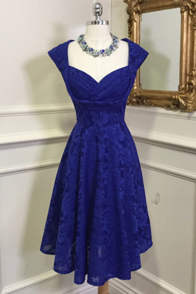 Marissa Royal Blue Lace Midi Dress - LadyVB   s.r.o - 3