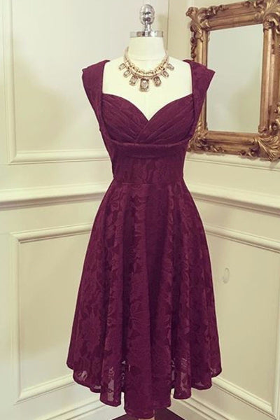 Marissa Bordeaux Lace Midi Dress - LadyVB   s.r.o - 3