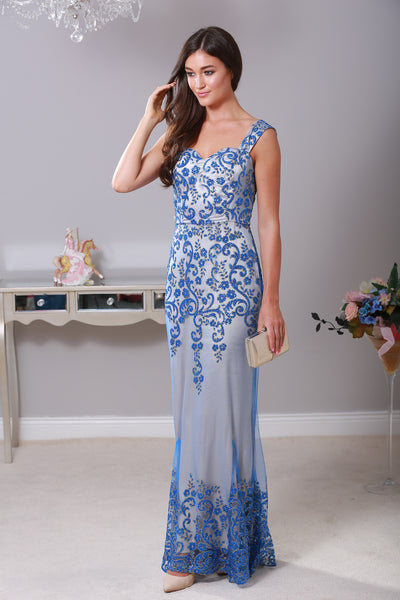 Layla Blue Floral Embellished Mesh Lined Maxi Dress - LadyVB   s.r.o - 1