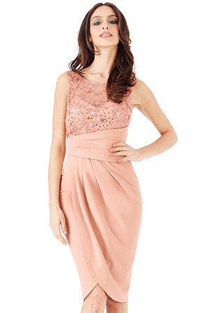 Ellie Star Embellished Nude Midi Dress with Split - LadyVB   s.r.o - 2