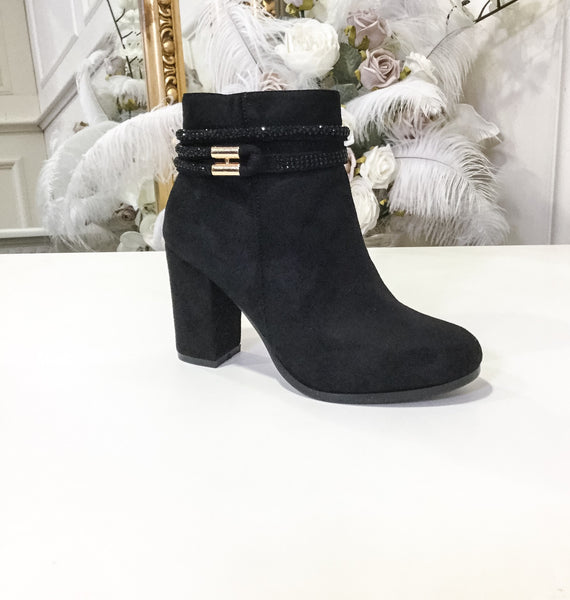Brenda Black Glimmer Band Boot Heel With Gold Bar - LadyVB   s.r.o - 1