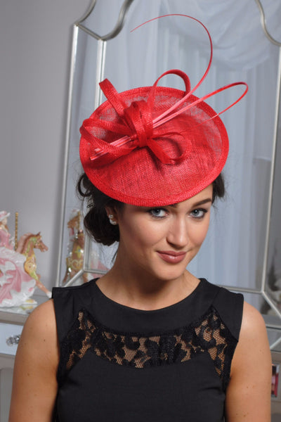 Jenna Red Fascinator - LadyVB   s.r.o - 1