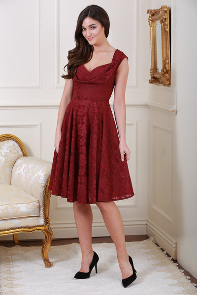 Marissa Bordeaux Lace Midi Dress - LadyVB   s.r.o - 1