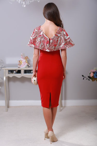 Chrystal Cape Red Dress - LadyVB   s.r.o - 3