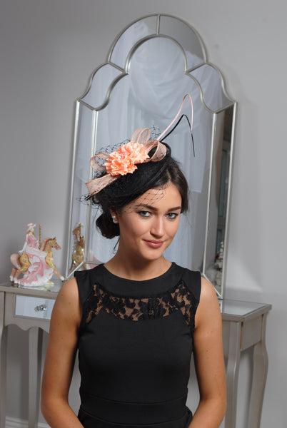 Black /Peach Fascinator - LadyVB   s.r.o - 1
