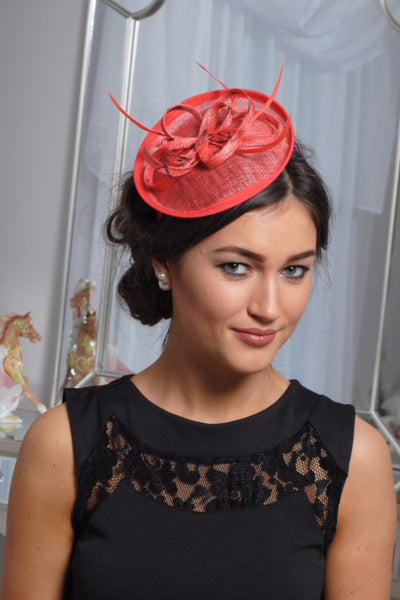 Coral and black fascinator - LadyVB   s.r.o - 1