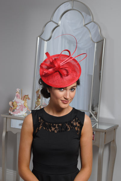 Jenna Red Fascinator - LadyVB   s.r.o - 3