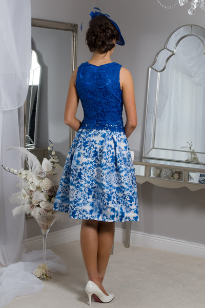 Caris Blue and white Crochet Dress - LadyVB   s.r.o - 2
