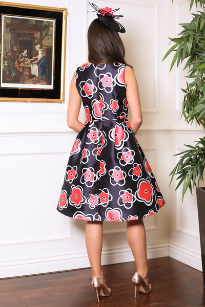 Pink Floral Fit and Flare Dress - LadyVB   s.r.o - 3