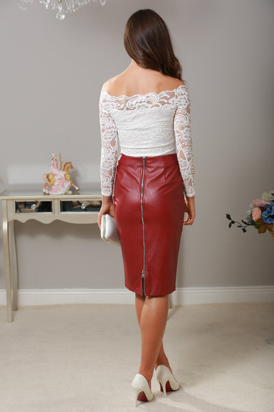 Mika Wine Leather Midi Skirt - LadyVB   s.r.o - 2