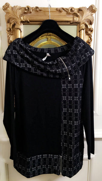 Nina black with White Box Pattern Tunic Top - LadyVB   s.r.o - 2