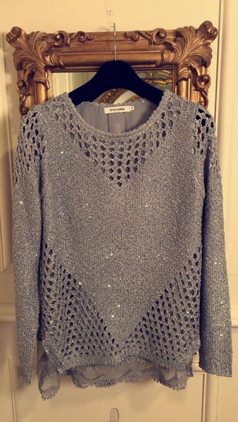 Ava Grey Embellished Over-sized Knit Jumper - LadyVB   s.r.o - 2