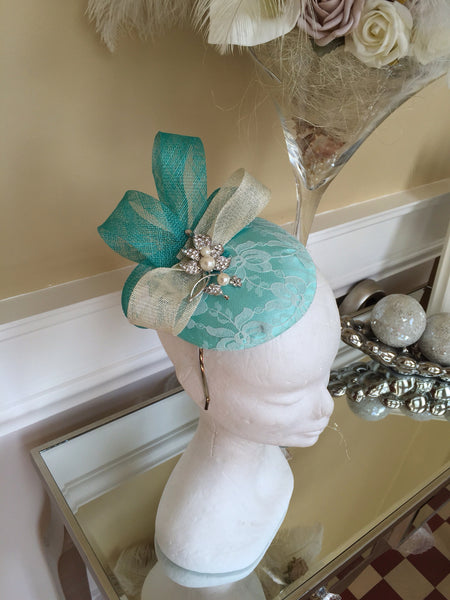 Bespoke mint and cream Sally Fascinator - LadyVB   s.r.o - 3