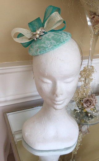 Bespoke mint and cream Sally Fascinator - LadyVB   s.r.o - 2