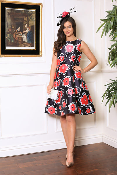 Pink Floral Fit and Flare Dress - LadyVB   s.r.o - 1