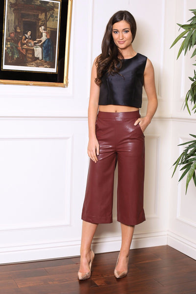 Wine PVC Side Zip Up Palazzo 3/4 Pants - LadyVB   s.r.o - 1