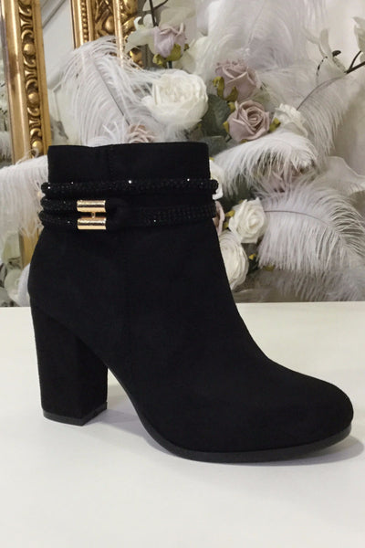 Brenda Black Glimmer Band Boot Heel With Gold Bar - LadyVB   s.r.o - 4