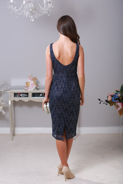 Sienna Embellish Midi Navy Dress - LadyVB   s.r.o - 2