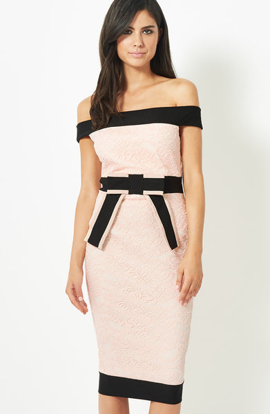 Lilianna Black and Blush Bardot Dress - LadyVB   s.r.o - 3