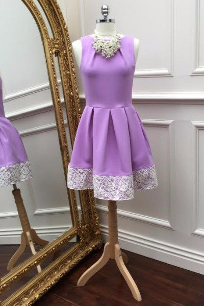 Cindy Purple and Cream Lace Dress - LadyVB   s.r.o - 3