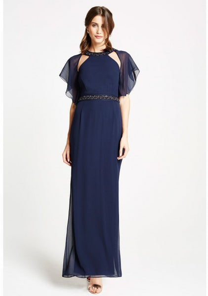 Olivia Navy Cape Dress - LadyVB   s.r.o - 2
