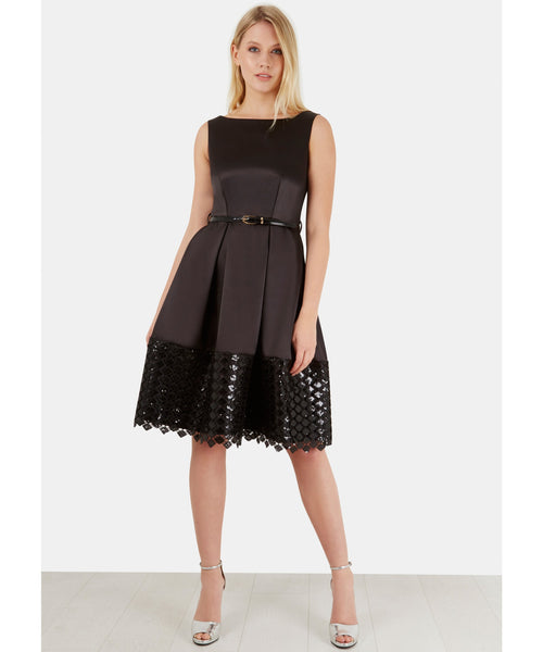 Natalie Black Belted V-Back Pleated Contrast Lace Hem Dress - LadyVB   s.r.o - 2