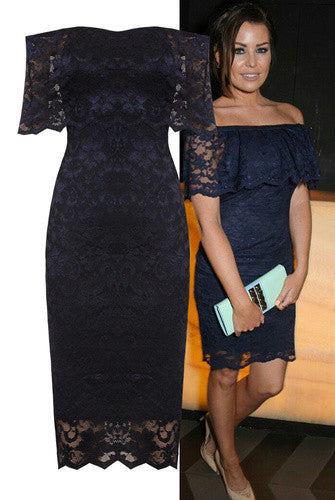 Celebrity Navy Lace Frill Dress - LadyVB   s.r.o - 1