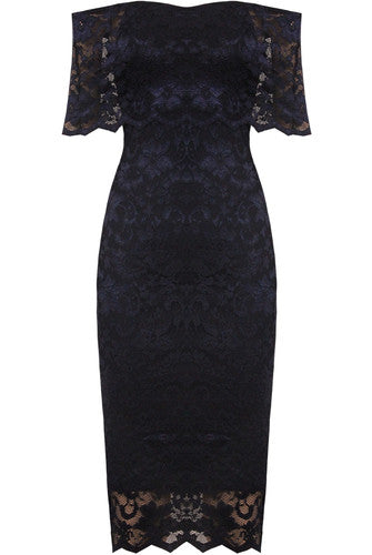 Celebrity Navy Lace Frill Dress - LadyVB   s.r.o - 2
