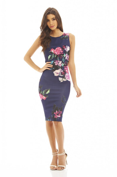 CROPPED NAVY OVERLAY FLORAL BODYCON DRESS - LadyVB   s.r.o