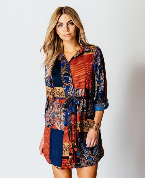 Pru Paisley Tile Print Button Shirt Dress - LadyVB   s.r.o - 3
