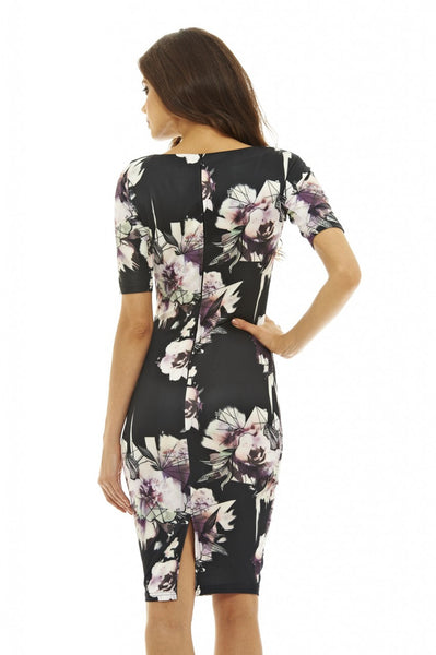 Rianne Black Floral 3/4 Sleeve Midi Dress - LadyVB   s.r.o - 3