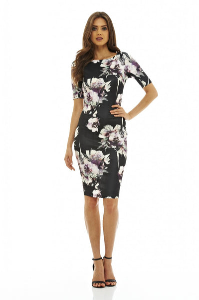Rianne Black Floral 3/4 Sleeve Midi Dress - LadyVB   s.r.o - 2