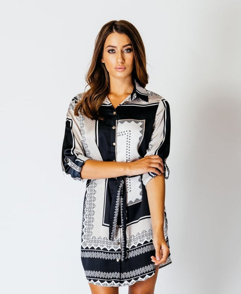 Suzanne Monochrome Print Button-Down Wrap Shirt Dress - LadyVB   s.r.o