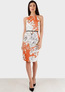 Betina Coral and White Belted Pencil Dress - LadyVB   s.r.o - 5